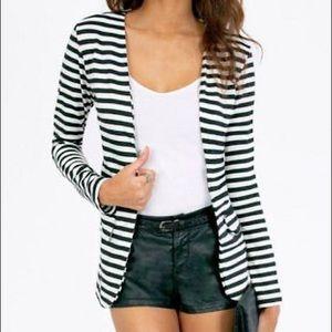 Black and white striped blazer